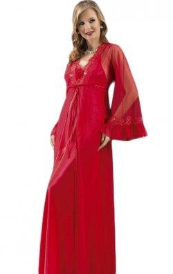Uzun Saten Gecelik ve Sabahlık Takımı Kırmızı