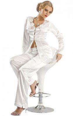 Fantazi Saten Gecelik Pijamalı Takım Beyaz
