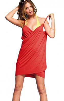 Kırmızı Kısa Plaj Elbisesi Pareo