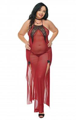 Büyük Beden Bordo Gecelik Seksi Giyim Favor