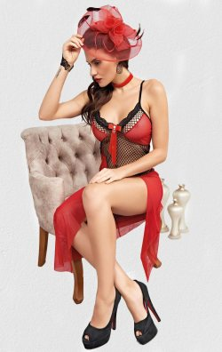 Fileli Uzun Gecelik Kırmızı Kadın Seksi Giyim