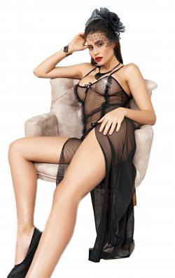 Siyah File Uzun Gecelik Fantazi Kadın Giyim
