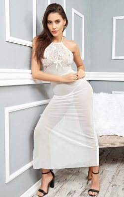 Beyaz Gecelik Transparan Seksi Giyim