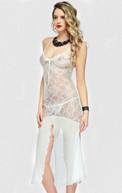 Transparan Beyaz Gecelik Uzun Fantazi Giyim