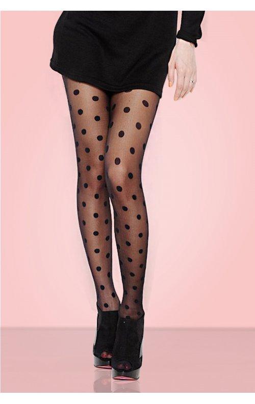 iri Puantiyeli Külotlu Çorap Siyah