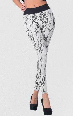 Krem Kadın Tayt Örme Cotton Desenli