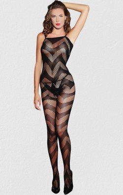Siyah Dalga Desenli Kadın Vücut Çorabı