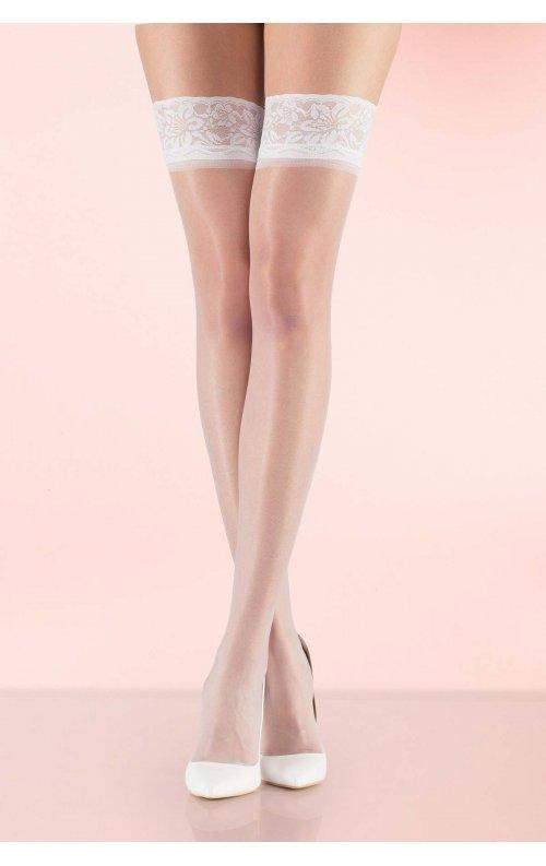 Fit 15 Dantelli Slikonsuz Jartiyer Çorabı Beyaz