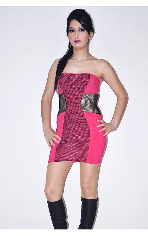 Fuşya Straplez Mini Elbise