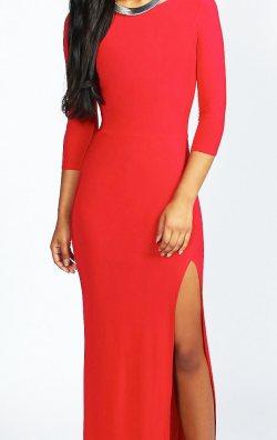 Kırmızı Uzun Gece Elbisesi