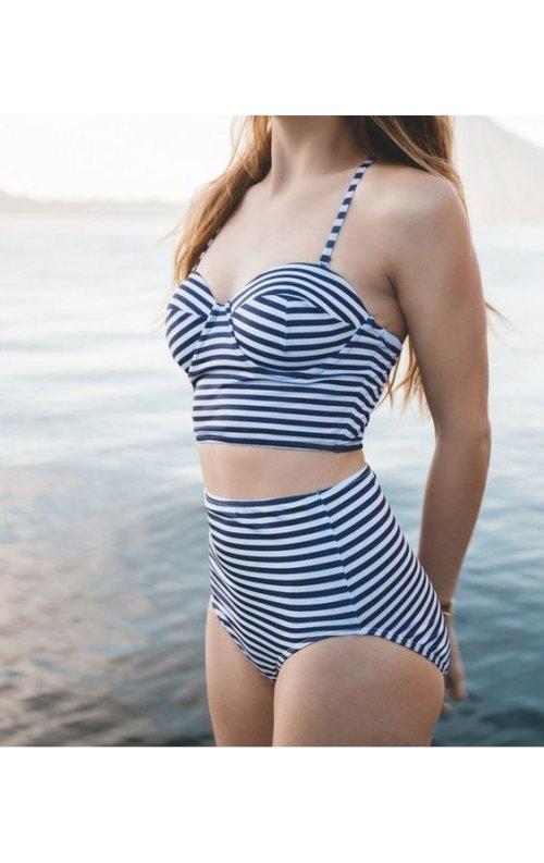 Çizgili Yüksek Bel Bikini Alt