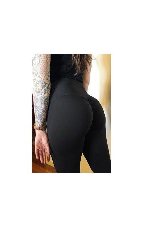 Kalça Tasarımlı Siyah Kadın Tayt