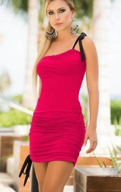 Tek Kol Pembe Mini Elbise