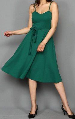 Yeşil İp Askılı Kuşaklı Abiye Elbise