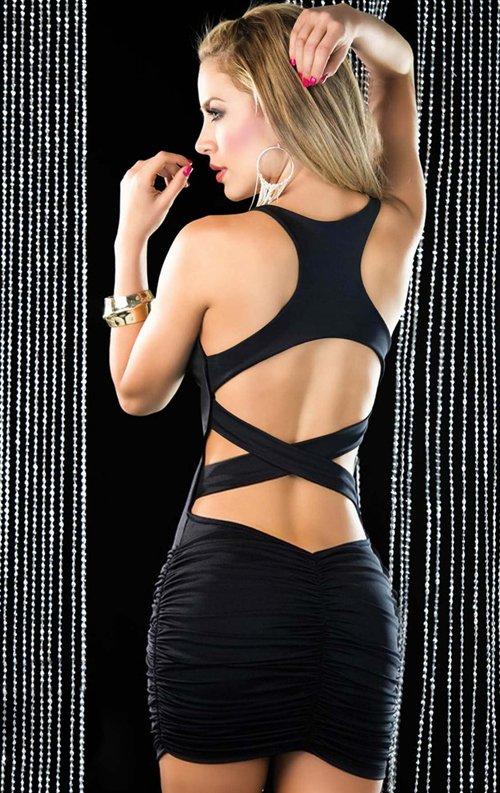 Sırt Dekolteli Fantazi Siyah Mini Elbise