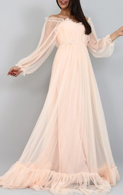 fc98c191546ff Pudra Şifon Uzun Abiye Elbise Fiyatı