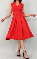 Kırmızı Kemerli Kruvaze Yaka Midi Abiye Elbise