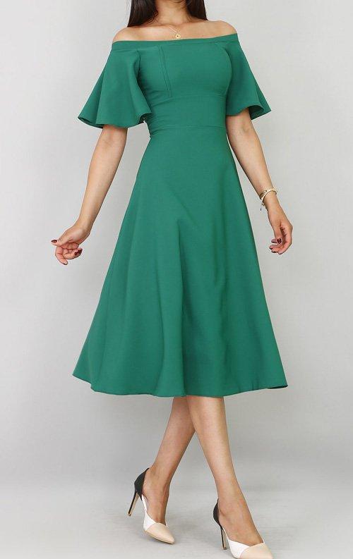 Yeşil Kolları Volanlı Midi Abiye Elbise
