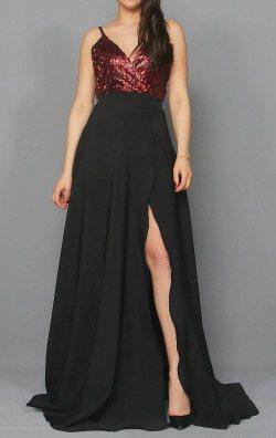 Bordo Payetli Uzun Abiye Elbise