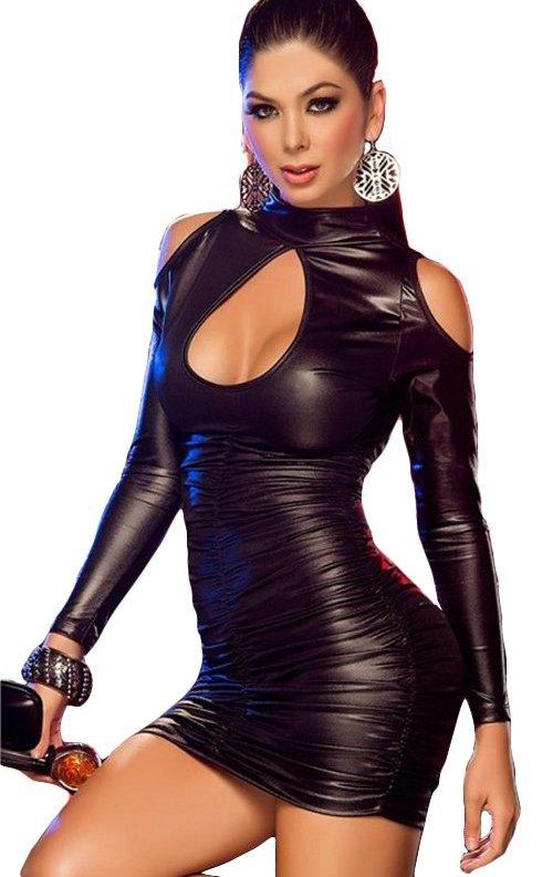 Siyah Lame Deri Büzgülü Mini Elbise