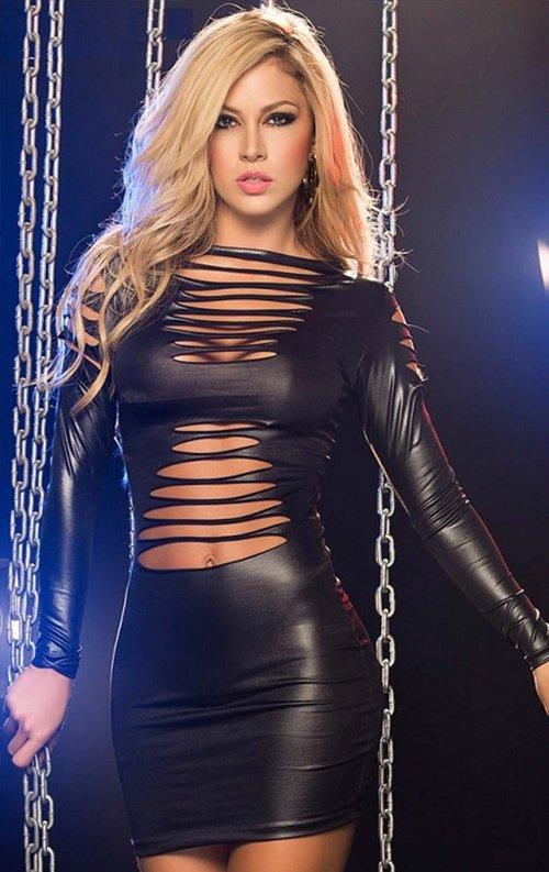 Siyah Lazer Kesim Yırtık Detay Lame Mini Elbise