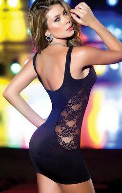 Yanları Dantel Siyah Mini Elbise