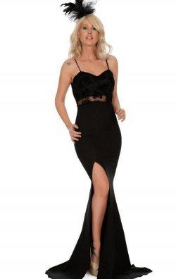 Siyah Flok Baskı Uzun Balık Abiye Elbise