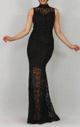 Siyah Flok Baskı Tasarım Abiye Elbise