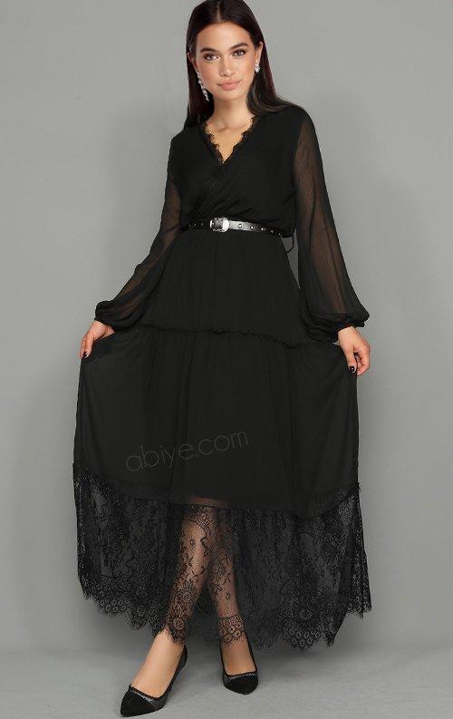 Şifon Dantel Detay Kemerli Siyah Abiye Elbise