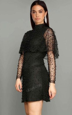 İnci Detaylı Siyah Kısa Abiye Elbise