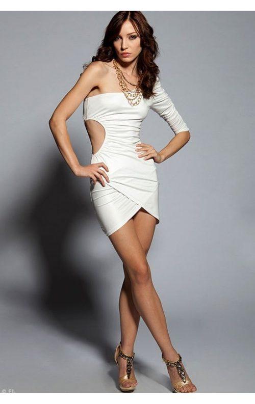 Tek Omuz Beyaz Mini Elbise