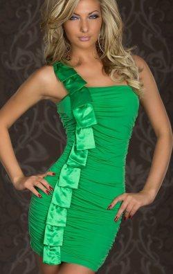 Tek Omuz Yeşil Elbise