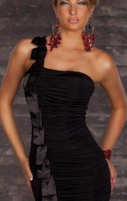 Tek Omuz Siyah Elbise