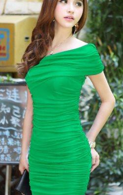 Japon Style Yeşil Elbise