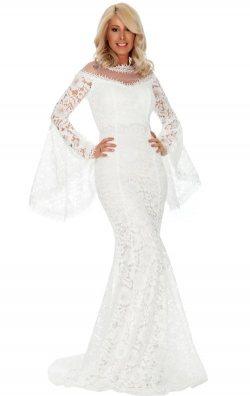 Beyaz Dantel Balık Model Abiye Elbise