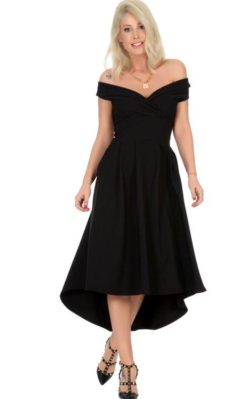 Siyah Kalp Yaka Abiye Elbise
