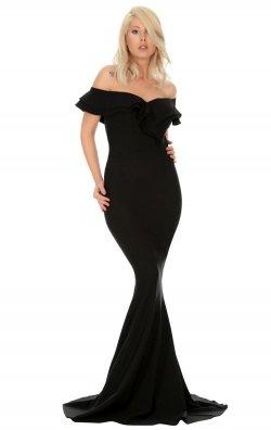 Siyah Volan Yaka Balık Abiye Elbise