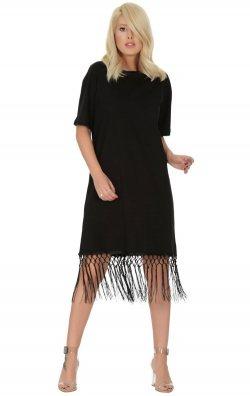 Eteği Püsküllü Siyah Kısa Elbise