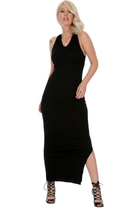 Kaşkorse Kumaş Sırt Detay uzun Elbise