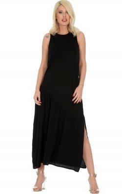 Salaş Sıfır Kol Siyah Uzun Elbise