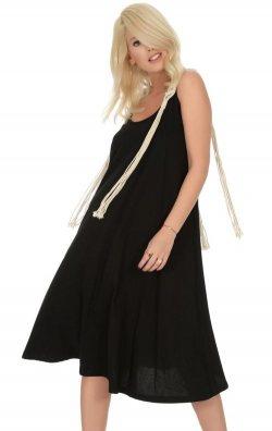 Omuzları Püsküllü Siyah Midi Elbise