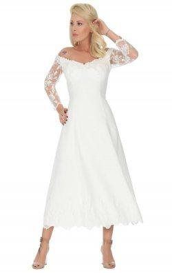 Beyaz Dantel İşlemeli Midi Abiye Elbise
