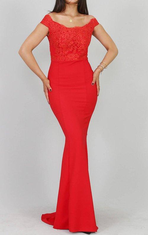 Kırmızı Güpür Detay Abiye Elbise