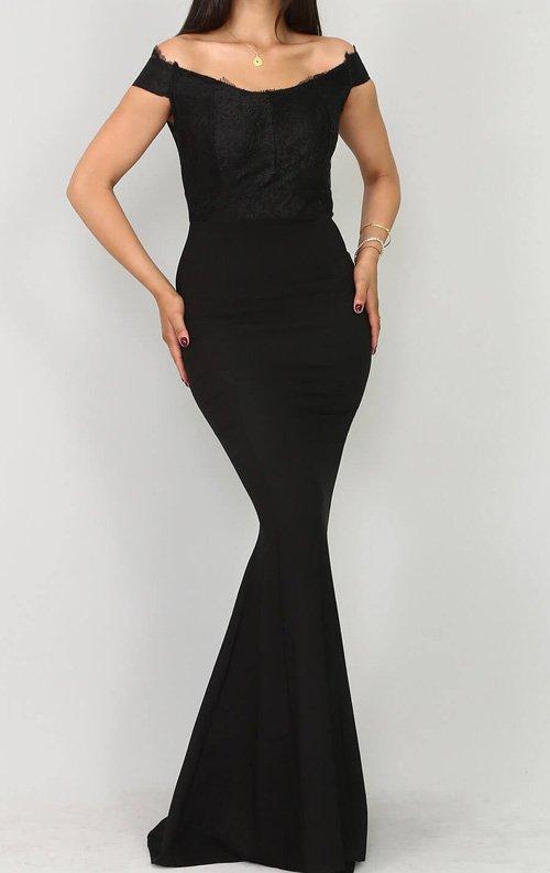 Siyah Güpür Detay Abiye Elbise