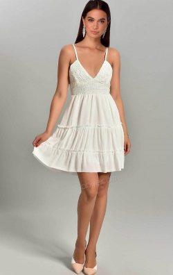 Beyaz Güpürlü Plaj Elbisesi