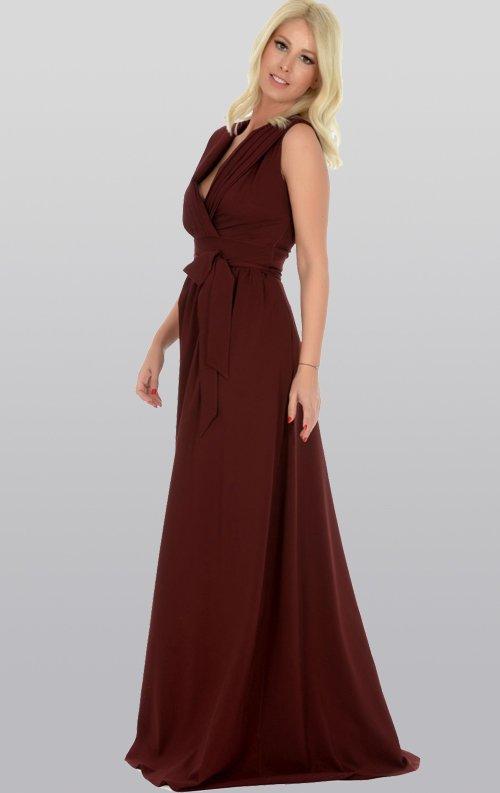 Pilise Yaka Bordo Uzun Abiye Elbise