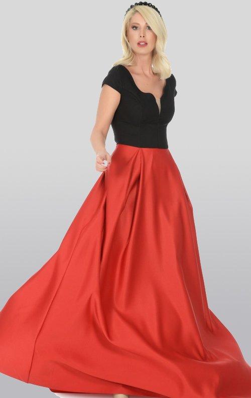 Eteği Kırmızı Saten Uzun Abiye Elbise