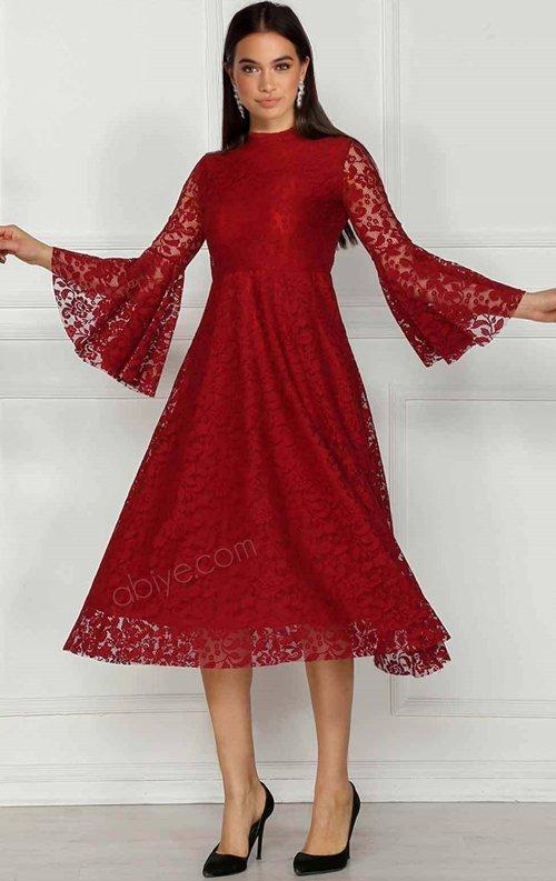 Bordo İspanyol Kollu Dantel Abiye Elbise