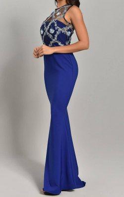 Saks Mavi Nakışlı Uzun Balık Abiye Elbise