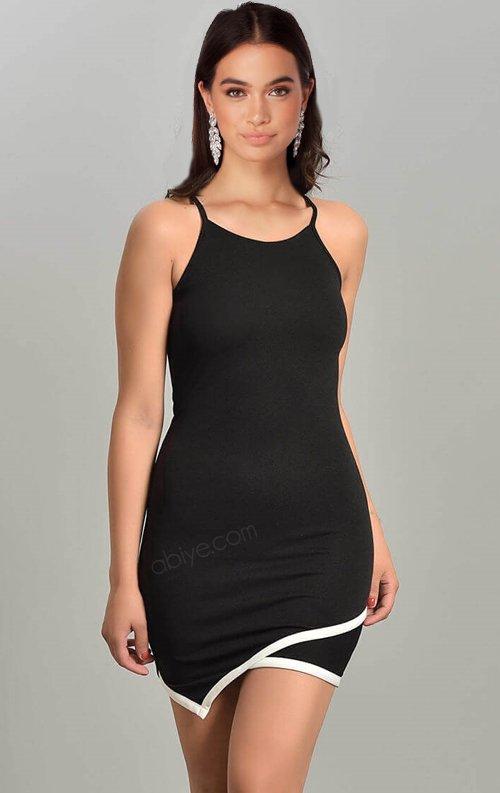 Asimetrik Kesim Siyah Askılı Mini Elbise